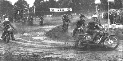 A wet MX des Nations in Sweden 1963. 14:Derek Rickman leads 11:Arthur Lampkin and 35:Don Rickman