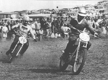 Don Rickman (Metisse) leads number 14, Paul Fredrichs (CZ) at Farleigh Castle 1966