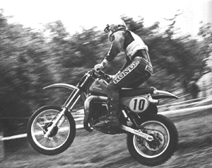 Graham Noyce riding the monster Honda CR450, Note the latest twin shock configuration.